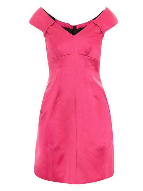 V Neck Dress Pink marc satin v neck dress in pink lyst