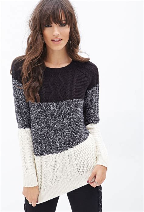 Forever 21 Colorblocked Cable Knit Sweater In Black Lyst
