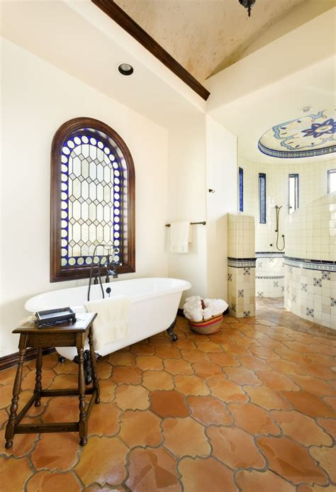 yellow and red bathroom red tile flooring bathroom transitional with wall sconces contemporary and floor tiles