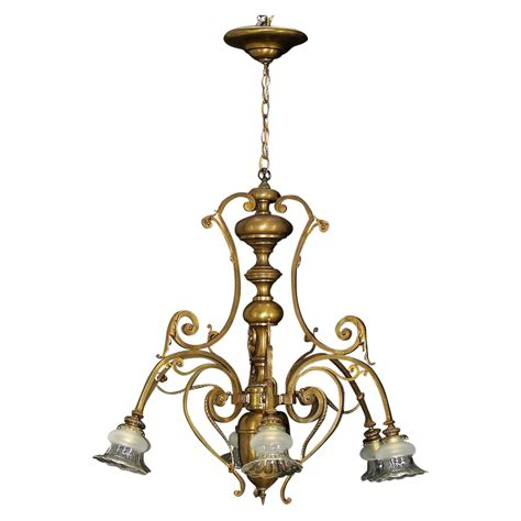 Bronze L Shades by Antique Large Bronze 6 Light Chandelier Cut Glass