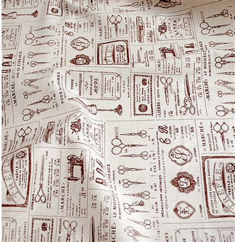 fabric pattern tools items similar to retro sewing tools pattern cotton linen