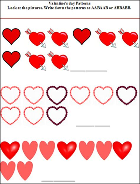 pattern day kindergarten all worksheets 187 free valentines day worksheets