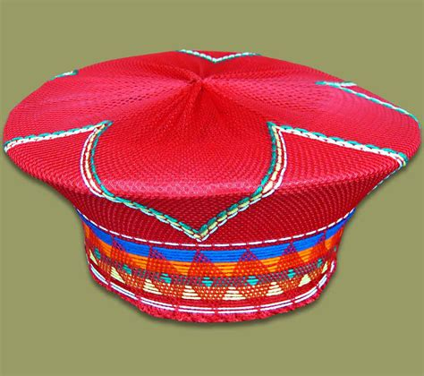 south african zulu hat zulu hat traditional red 2