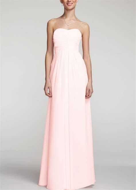 david s bridal long strapless chiffon dress with pleated