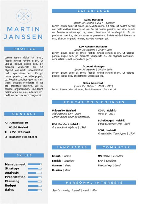 Cv Template Without Cv Resume Template Helsinki Docx Pptx Gosumo