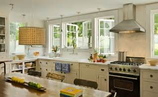 Hanging Curtains In Bay Window Kitchen Transformation Traditional Kitchen