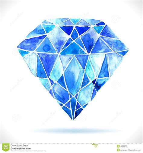 home design free diamonds watercolor beautiful blue diamond stock photo image