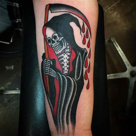 traditional grim reaper tattoo classic cool tattoos by paul nycz