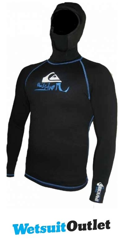 Ripcurl 6603 Black Blue Stitch quiksilver syncro 0 5mm hooded ls neoprene top black blue