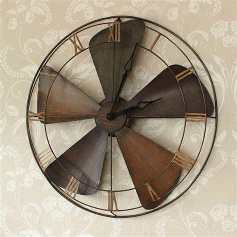 vintage style table fan industrail vintage style fan style wall clock melody maison 174