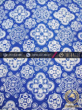 Kain Batik Cap Medan Biru jual kain batik cap kelengan motif ceplok kelir biru