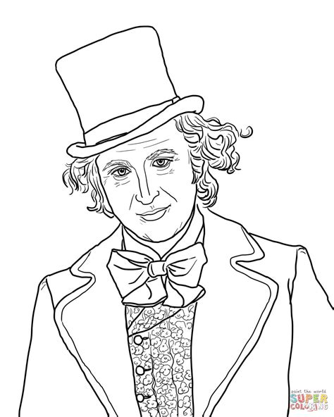 willy wonka with gene wilder coloring page free