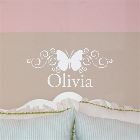 lettering stickers for walls scroll butterfly custom name monogram wall decal sticker