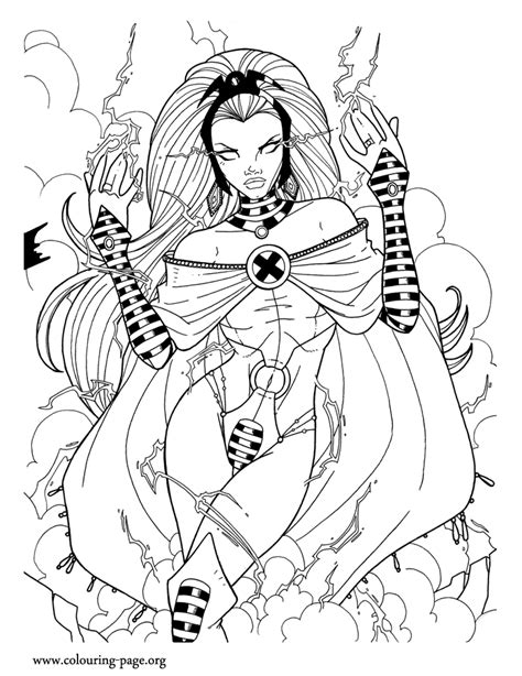 X Men Storm Coloring Page Xmen Coloring Pages