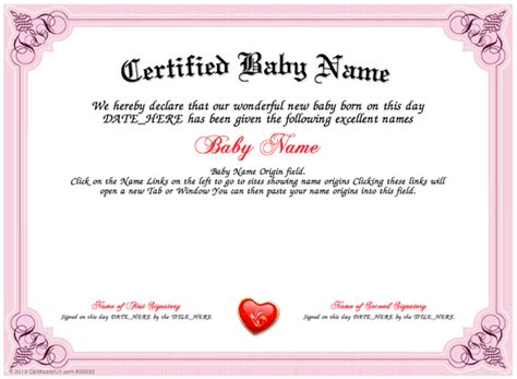 certificate design generator baby name download and print a unique baby name