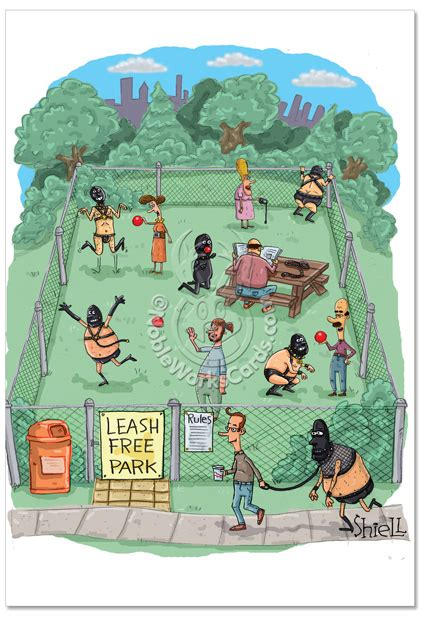 leash park leash free park birthday paper card mike shiell