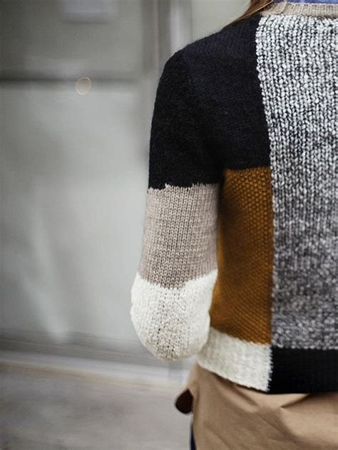 Patchwork Knitting - patchwork knit sweater by carven comfort on me