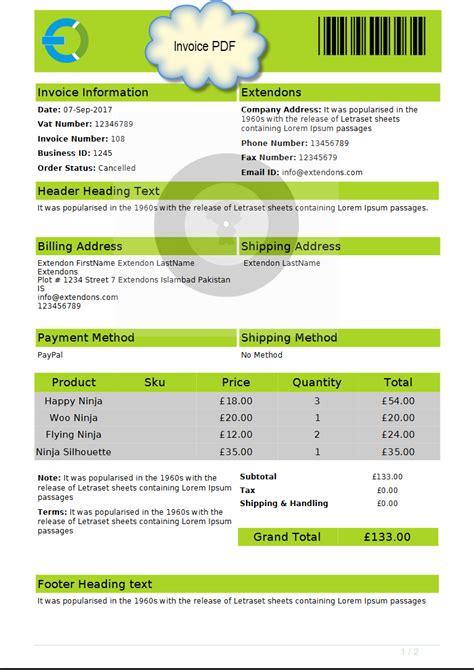 woocommerce printable invoice woocommerce pdf invoices packing slips