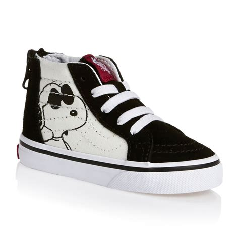 cool vans shoes vans peanuts toddler sk8 hi zip shoes joe cool black