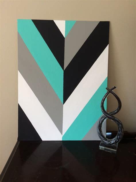 pattern canvas art hand painted modern chevron arrow geometric canvas art by