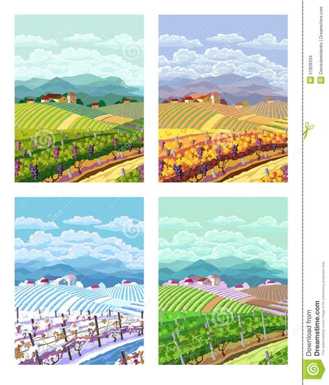 four seasons rural landscapes stock vector image 51828334