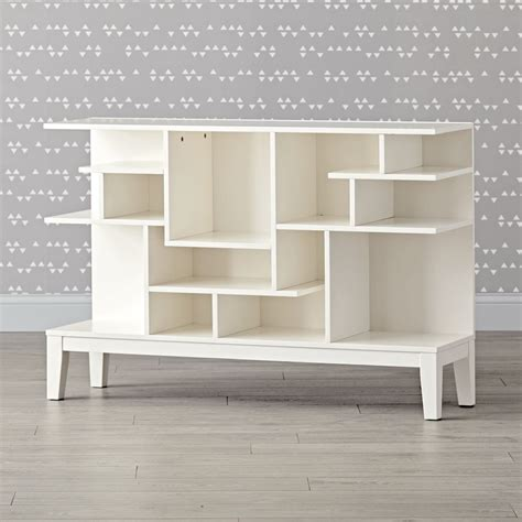 wide white bookcase wide white modern geometric bookcase the land of nod