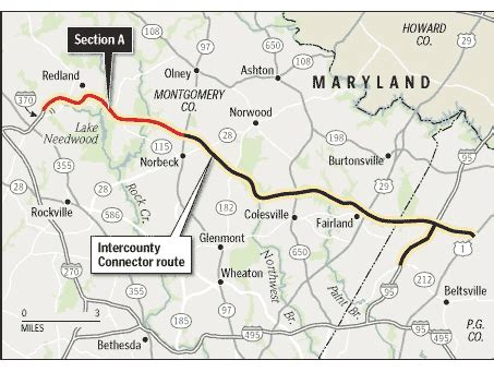 icc maryland map exits intercounty connector opening