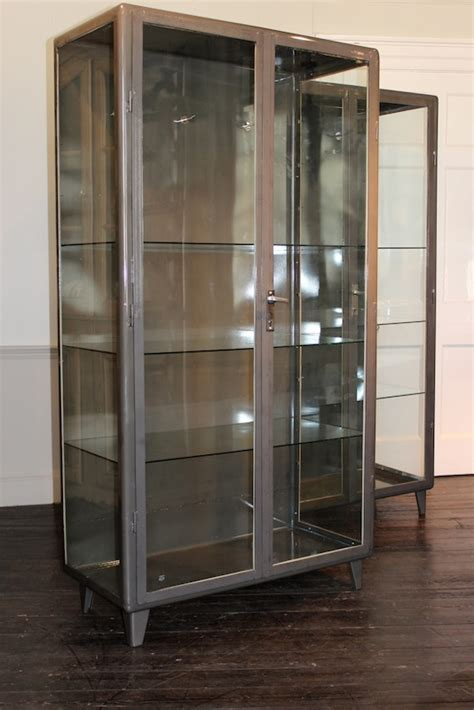 Steel And Glass Cabinet by Pair Of 1940s Steel Glass Bathroom Cabinets