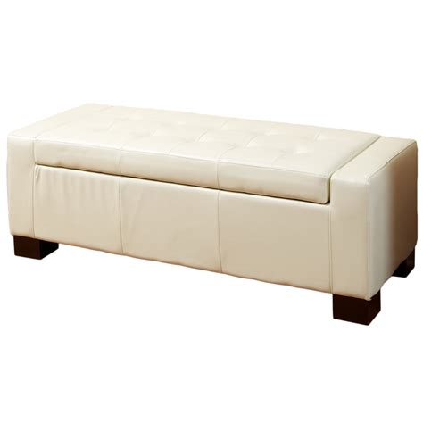 White Leather Storage Ottoman Bench Best Selling Home Decor Guernsey White Leather Storage Ottoman Bench Home Furniture Living