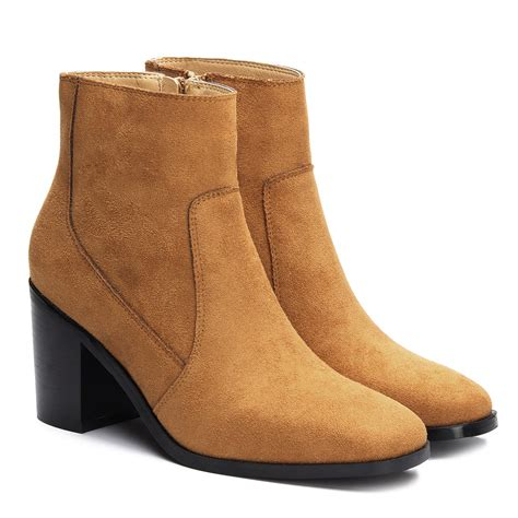 brown suede chunky heels ankle boots us 47 95 yoins