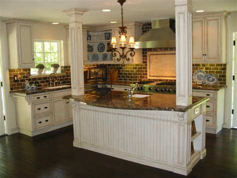 Antique Cream Kitchen Cabinets | custom kitchen renovation antique cream glazed cabinets