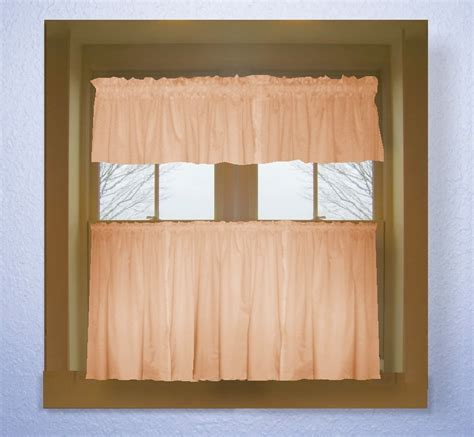 Solid Peach Colored Caf 233 Style Curtain Includes 2