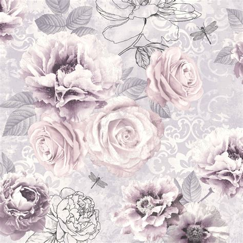 Pale Pink Floral Wallpaper