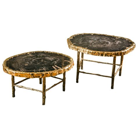 Petrified Wood Coffee Table Pair Of Black Petrified Wood Coffee Tables For Sale At 1stdibs