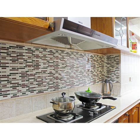 kitchen backsplash peel and stick tiles fancy fix vinyl peel and stick decorative backsplash kitchen tile sticker decal pack of 4 sheets