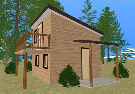 house plans with balcony the cozy cube tiny house with a balcony from cozy home plans
