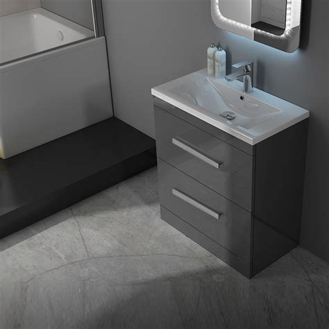 Patello 60 Grey Vanity Unit And Basin 2 Draws Buy Online Grey Bathroom Vanity Units