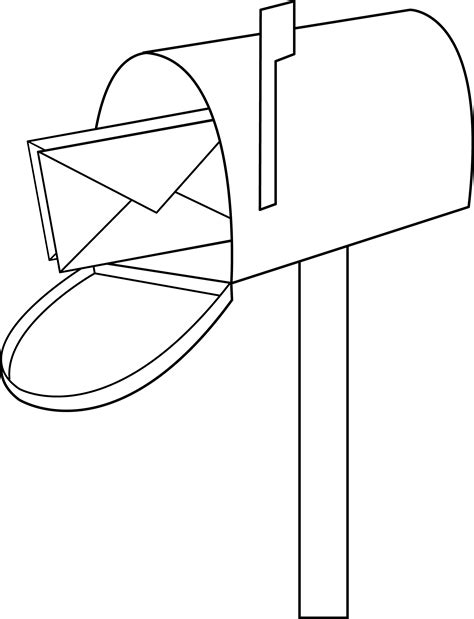 coloring pages of letter box mailbox line art free clip art