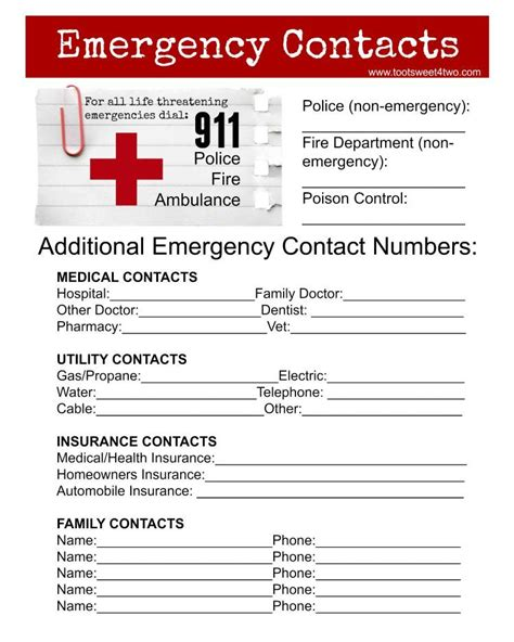 Emergency Numbers Card Template by Emergency Contact Sheet Are You Ready Free Printable