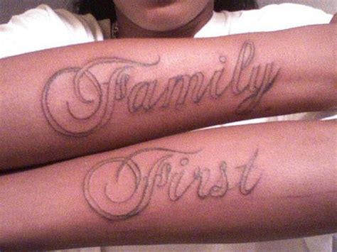 family tattoo on forearm family first tattoo design on arm