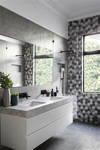 white bathroom with color accents matte black accents add sophistication to this grey and