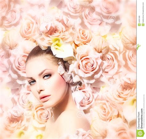 flowermodels com beauty model girl with flowers royalty free stock images