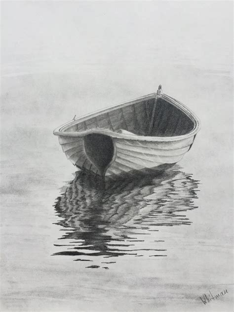 boat drawing 90 row boat reflections original art graphite pencil