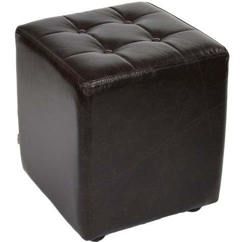 Brown Leather Cube Stool by Grain Leather Handcrafted Cube Stool Brown Lincoln