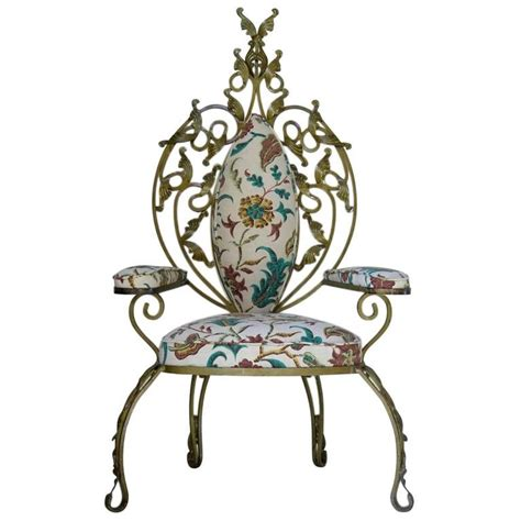 Iron Throne Chair by Baroque Italian 1950s Gilt Iron Throne Chair For Sale At