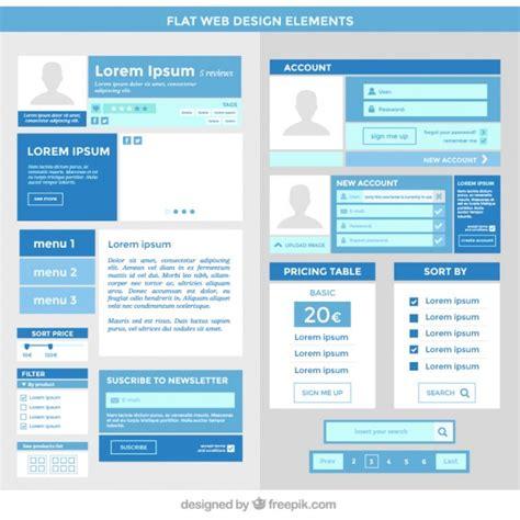 homepage design elements blue website elements set in flat design vector free