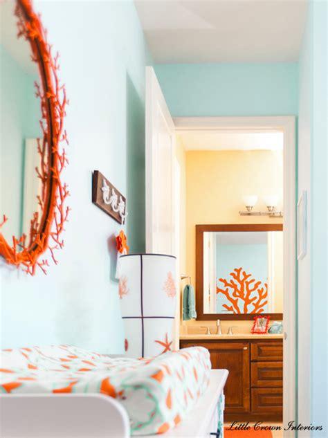 aqua and coral bathroom beach theme boys nursery interior design project reveal