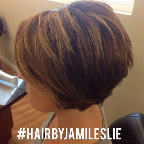 short stacked asymmetrical bob short stacked a line bob and golden beige highlights