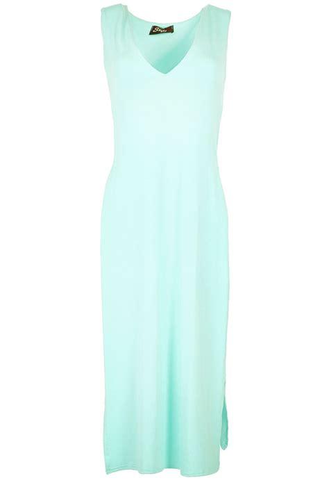 Midi Slit Tunik womens v neck side slit cut out tunic waist split midi dress top ebay