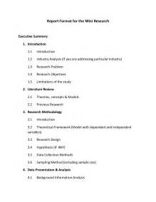 Research Paper Writing Format Report Format For The Mini Research